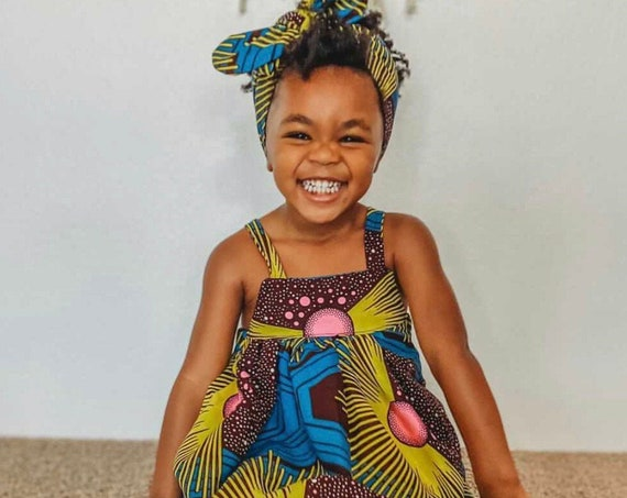 Kids Ankara African Print Boho Midi Dress // Pink Turquoise Yellow Ankara Fabric / Baby Toddler Kids Sizes 0-3m - 7/8