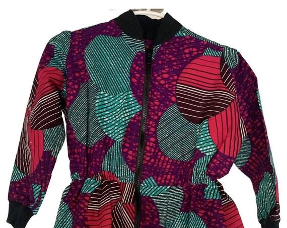Kids Girls African  Bomber Jacket Zip Up Ankara Print Dress // 4T // Pink Purple Turquoise  // SAMPLE SALE RTS