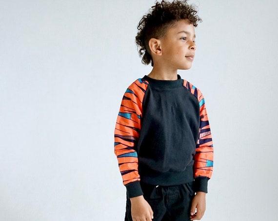 Kids Crew Neck Sweatshirt Ankara Print // Orange Coral Blue Black  Ankara African Print Sleeves // Baby Toddler 0-3m - 9/10 Kids