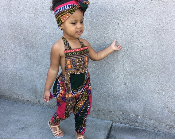 African Ankara Dashiki Print Jumpsuit Romper Outfit - Baby / Toddler / Girls - Hot Pink Dashiki -  0-3m - 5T