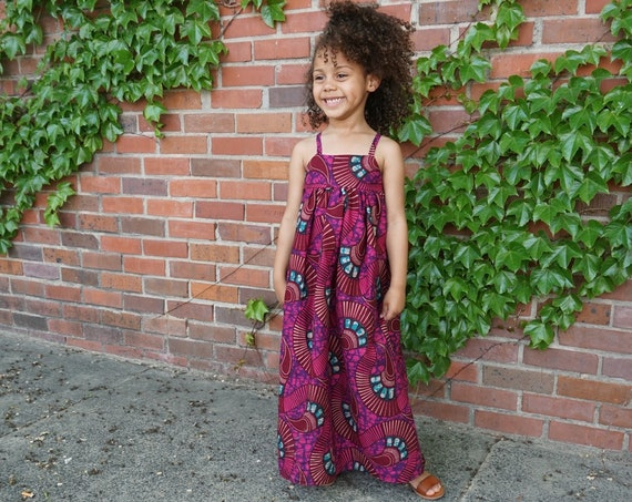 Kids Ankara African Print Boho Maxi Dress  // Purple Pink Ankara Fabric / Baby Toddler Kids Sizes NB- 6