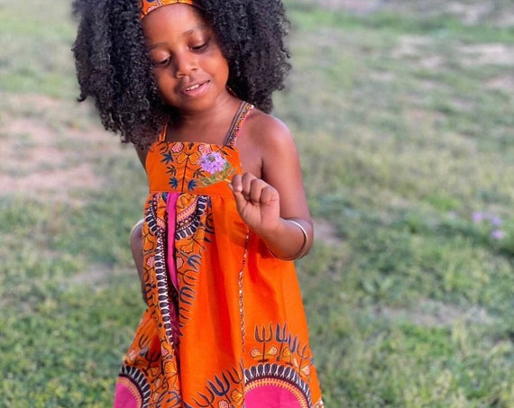 Kids Ankara African Print Tank Top Midi Dress // Orange pink dashiki Ankara Fabric / Baby Toddler Kids Sizes 0-3m - 7/8
