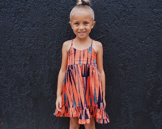 Girls Ankara Print Ruffle Dress // Ankara African Print Orange Blue Black   // Baby Toddler Kids Sizes 0/3 - 9/10