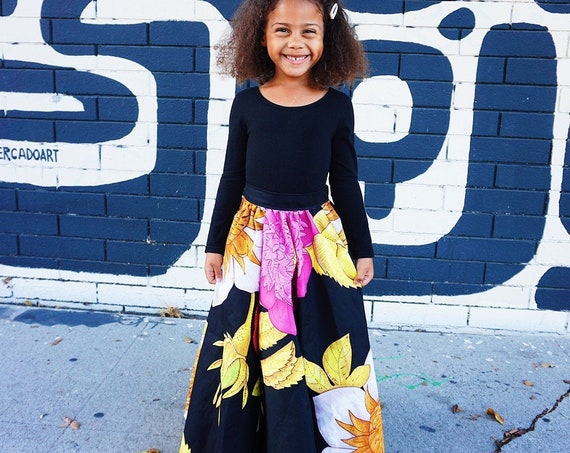 Girls Black Floral Print Full Length Maxi Skirt  // Black Floral Pink Red Holiday Skirt Outfit / Baby Toddler Kids Sizes NB- 6