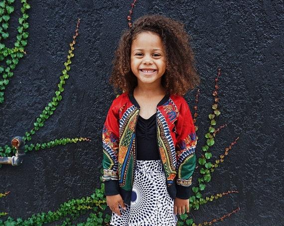 Kids Dashiki Bomber Jacket Unisex // African Print Kids Jacket // Red Dashiki Ankara African Print Fabric // 6m - 9/10