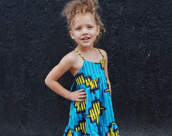 Girls African Print Ruffle Dress // Ankara African Print  Blue Yellow Black // Baby Toddler Kids Sizes 0/3 - 9/10