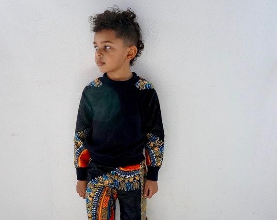 African Ankara Dashiki Print Toddler Kids Baby Boy Harem Jogger Pants -Black Dashiki - sizes nb - 9/10