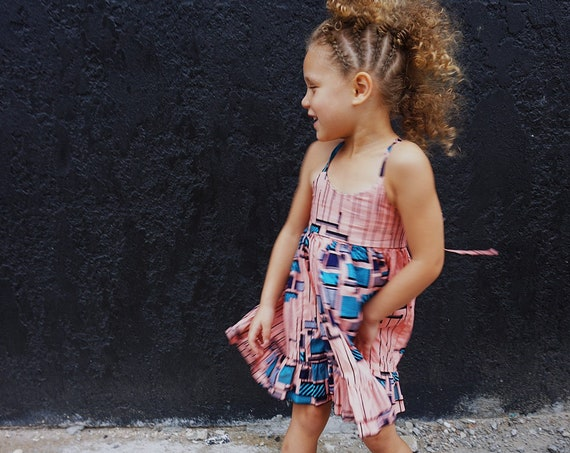 Girls Ankara Ruffle Dress // Ankara African Print Pink Blue Black // Baby Toddler Kids Sizes 0/3 - 9/10