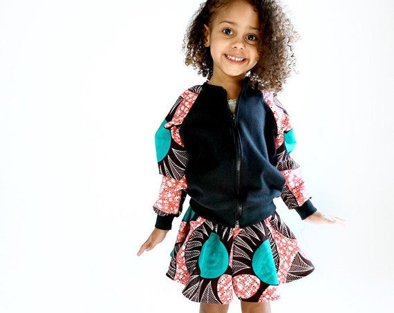 Girls African Ankara Print Skirt Skort // Baby Toddler Girls Outfit // nb - 9/10 //  Pink + Turquoise