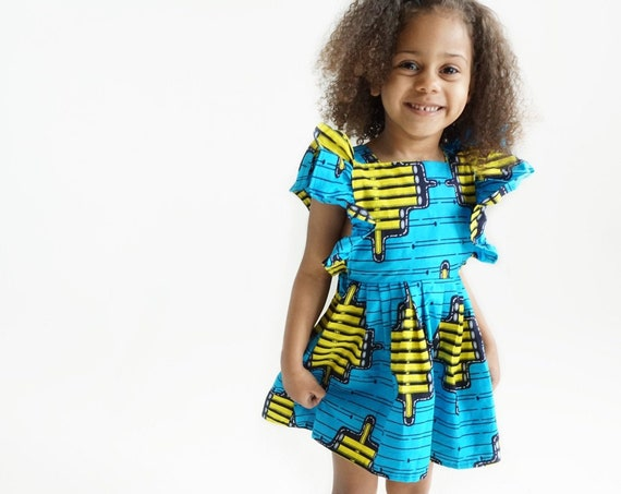 Kids Girls Baby Pinafore Dress Ankara Print Ruffle Ruffled Dress Outfit // nb - 9/10 // Blue + Yellow