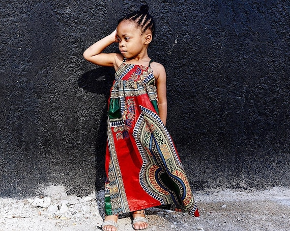 Kids Ankara African Print Maxi Dress // Red Dashiki Ankara Fabric / Baby Toddler Kids African Dashiki Dress