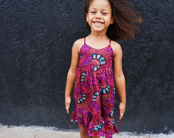 Girls Ankara Print Ruffle Dress // Ankara African Print Purple Burgundy   // Baby Toddler Kids Sizes 0/3 - 9/10