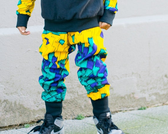 Kids African Print Boy Joggers Jogger Pants //  African Print Baby Boys Clothing Outfit // yellow green blue Ankara NB - 9/10