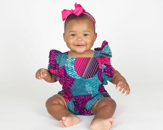 Kids Girls Baby African Ankara Print Ruffle Ruffled Romper Outfit // nb - 6T // Pink Purple Turquoise
