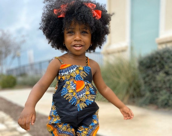 African Ankara Print Kids Jumpsuit Outfit // Black Dashiki Print // Baby Girl Toddler Kids //sizes 0-3m - 9/10