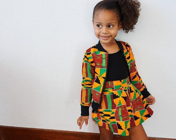 Girls Kente African Print Skirt Outfit Bomber Jacket // Orange Red Green Ankara // Baby Toddler Kids Size 6m - 9/10