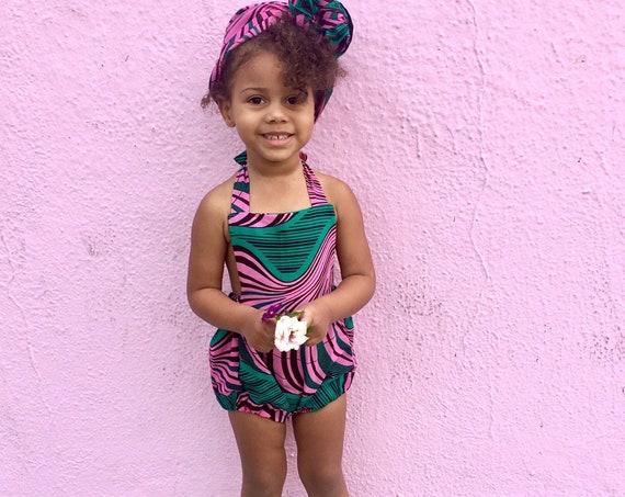 Kids Ankara African Print Romper Outfit // NB - 5T  // Baby Toddler Dashiki Ankara Fabric Pink Green
