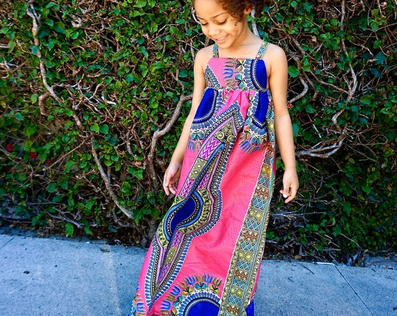 Kids Ankara African Print Boho Maxi Dress // Hot Pink Dashiki Ankara Fabric / Baby Toddler Kids Sizes 0-3m - 6T