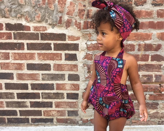 Baby Toddler Girl Vintage Inspired Playsuit Romper in African Ankara Prints :  NB - 5T  Pink & Burgundy Print