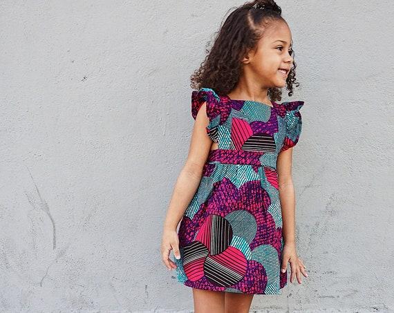 Girls Ruffled Pinafore Dress // Ankara Print Dress Outfit // 0-3m - 6 // Turquoise Pink Purple