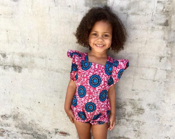 Kids Girls Baby African Ankara Print Ruffle Ruffled Romper Outfit // nb - 6T // Pink Blue Flowers