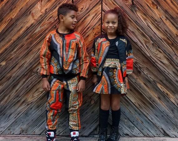 Kids Dashiki Bomber Jacket Boys Girls// African Print Kids Jacket Outfit // Black Dashiki Ankara African Print Fabric // 6m - 9/10