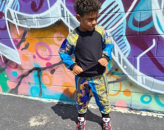 African Ankara Print Boys Jogger Pants Sweatshirt  Outfit // Light Blue Yellow Dashiki Ankara Print // African Baby Toddler Kids Clothes