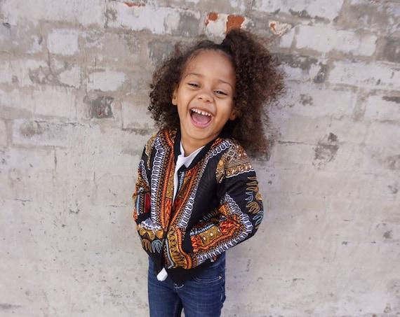 Kids Baby Toddler Dashiki Bomber Aviator Jacket Unisex // Black Dashiki Ankara African Print Fabric // 6m - 9/10