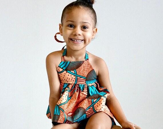 Kids Girls Baby African Ankara Print Ruffle Tank Top Outfit // nb - 9/10 // Light Orange Turquoise