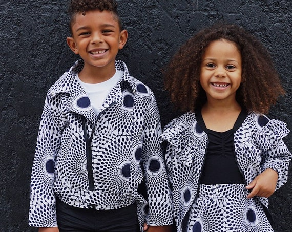 Kids Moto Biker Jacket // African Print Kids Clothes Jacket // 12m - 9/10 // Indigo Blue White Ankara Print