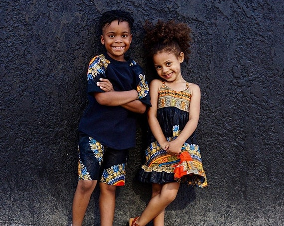 Girls Black Dashiki Print Ruffle Dress // Ankara African Print Black Dashiki // Baby Toddler Kids Sizes 0/3 - 9/10
