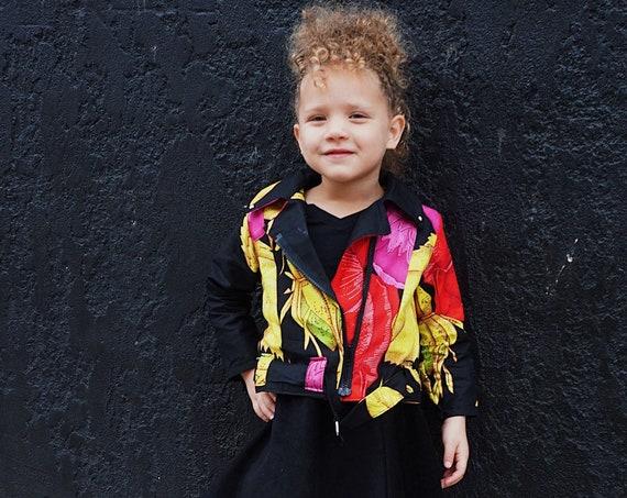 Kids Moto Biker Jacket // African Print Kids Clothes Jacket // 12m - 9/10 // Black Floral Ankara Print