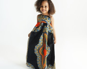 3db2c7861122 Kids Ankara African Print Boho Maxi Dress // Black Orange Dashiki Ankara  Fabric / Baby Toddler Kids Sizes NB- 5T