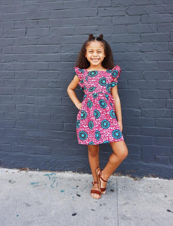 Kids Girls Baby Pinafore Dress Ankara Print Ruffle Ruffled Dress Outfit // 0-3m - 6 // Pink + Blue Floral