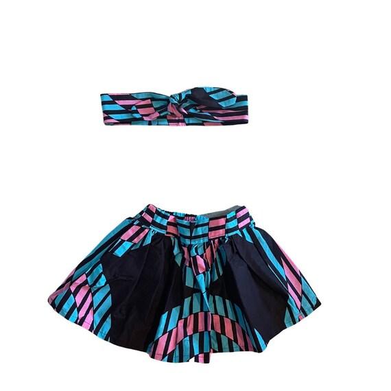 Toddler Girls Skirt  + Headband // African Ankara Print Outfit // Toddler Girls 2T // Black Pink Blue  // SAMPLE SALE