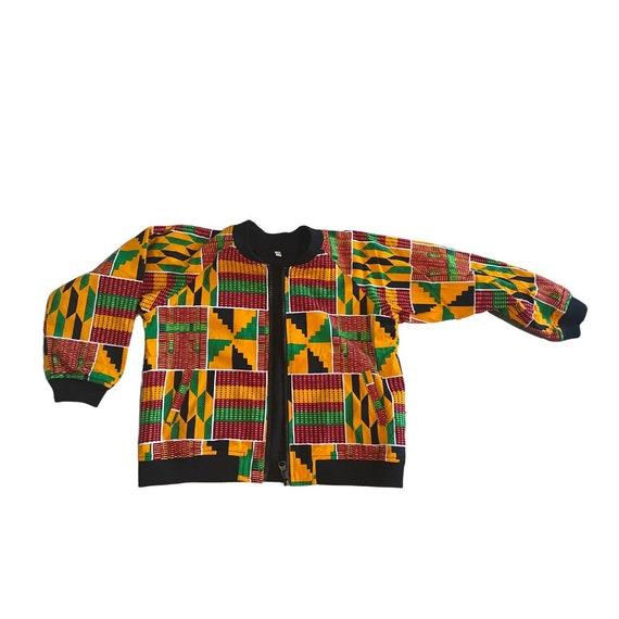 Girls Boys Unisex Kente African Print Lined Bomber Jacket // Orange Red Green Ankara // Toddler Kids size 6