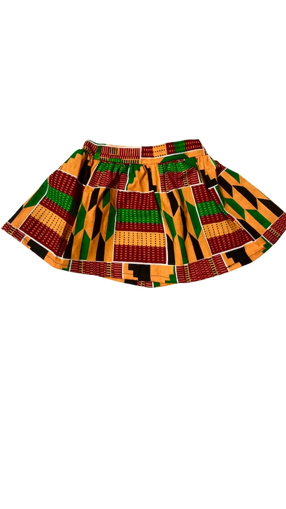 Girls Kente African Print Skirt // Orange Red Green Ankara // Baby Size 3-6m SAMPLE SALE