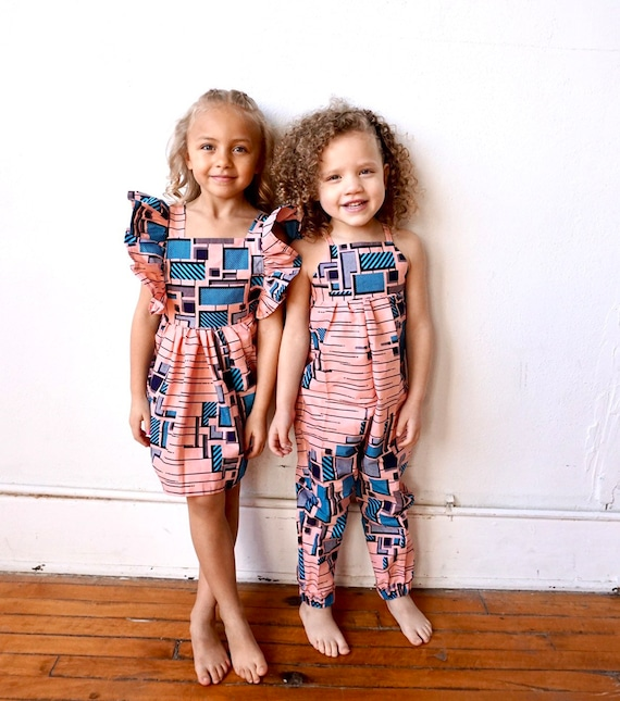 African Ankara Print Jumpsuit Outfit - Baby Girl Toddler Kids - sizes 0-3m - 9/10 - Peach Pink Blue