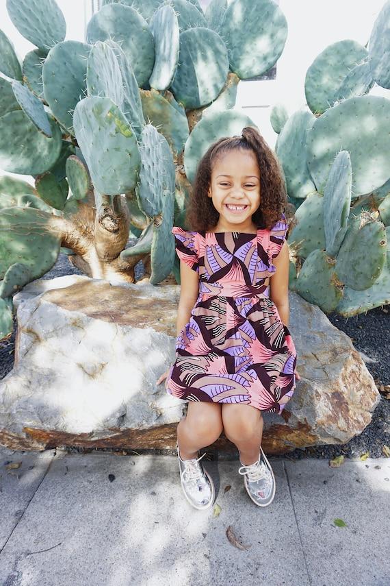 Girls Baby Pinafore Dress Ankara Print Ruffle Ruffled Dress Outfit // 0-3m - 6 // Pink Purple