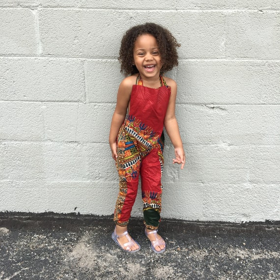 African Dashiki Print Jumpsuit Overalls Outfit - Baby Girl Toddler Kids // Size 3T // Burgundy Red Dashiki // SAMPLE SALE RTS