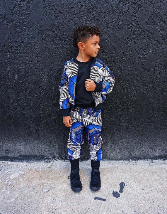 African Ankara Print Boys Jogger Pants Joggers Outfit // Blue Brown Black Ankara Print // African Baby Toddler Kids Clothes