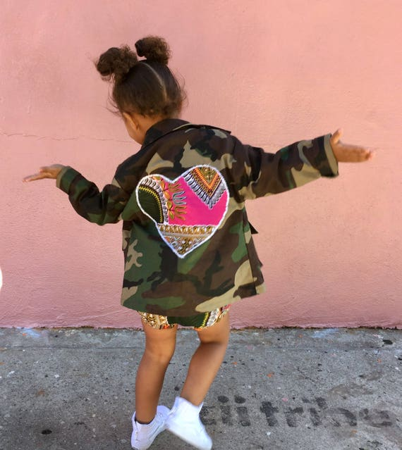 Kids Toddler Camo Camouflage Jacket Coat // Pink Dashiki Ankara Heart Hearts // SIZE 5/6