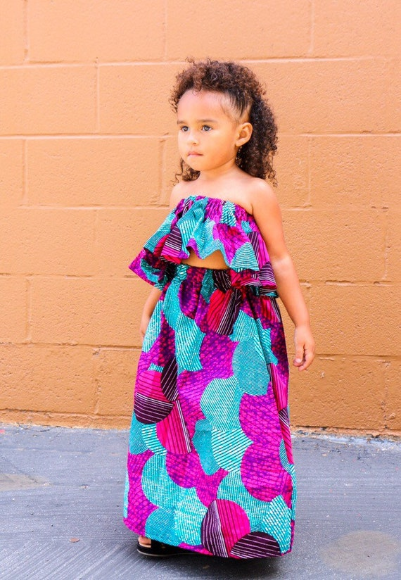 Kids Ankara African Print Boho Maxi Skirt + Top // Purple Turquoise Ankara Fabric / Baby Toddler Kids Sizes NB- 6
