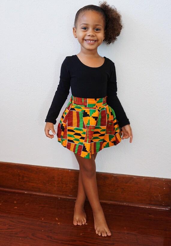 Girls Kente African Print Skirt  // Orange Red Green Ankara // SIZE 3T // ready to ship