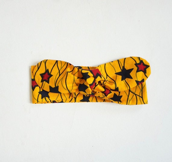 Ankara African Print Baby Girl Kid Toddler Headband Bow Headwrap -  Yellow Burgundy Stars Head Scarf