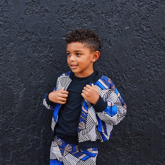Boys African Print Bomber Jacket  // Kids Ankara Print //  Blue Gray Brown Ankara  // Baby Toddler Kids African Fabric Outfit Size 6m - 9/10