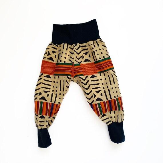 FLASH SALE- Kids Unisex KENTE African Harem Jogger Pants Ankara African Prints-  Orange Black Green Kente