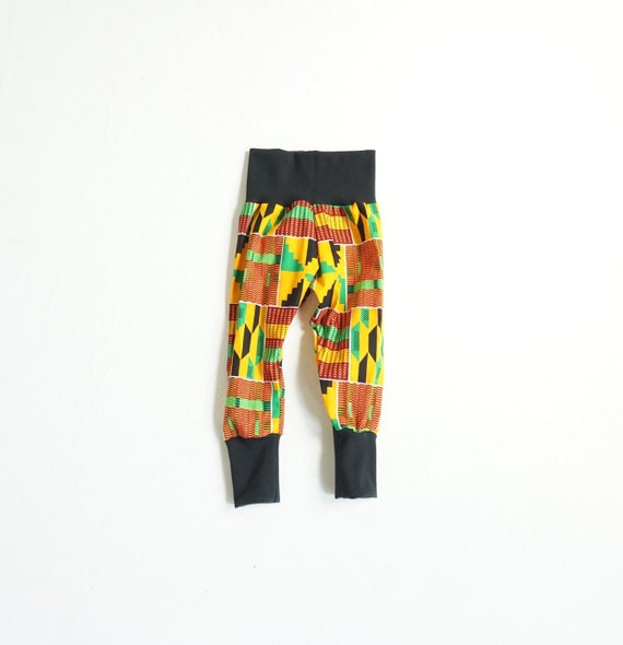 African Ankara Print Toddler Kids Baby Boy Harem Jogger Pants - Black Orange Green Kente Print - sizes nb-9/10
