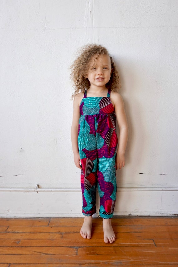 African Ankara Print Jumpsuit Outfit - Baby Girl Toddler Kids - sizes 0-3m - 9/10 - Purple Pink Turquoise