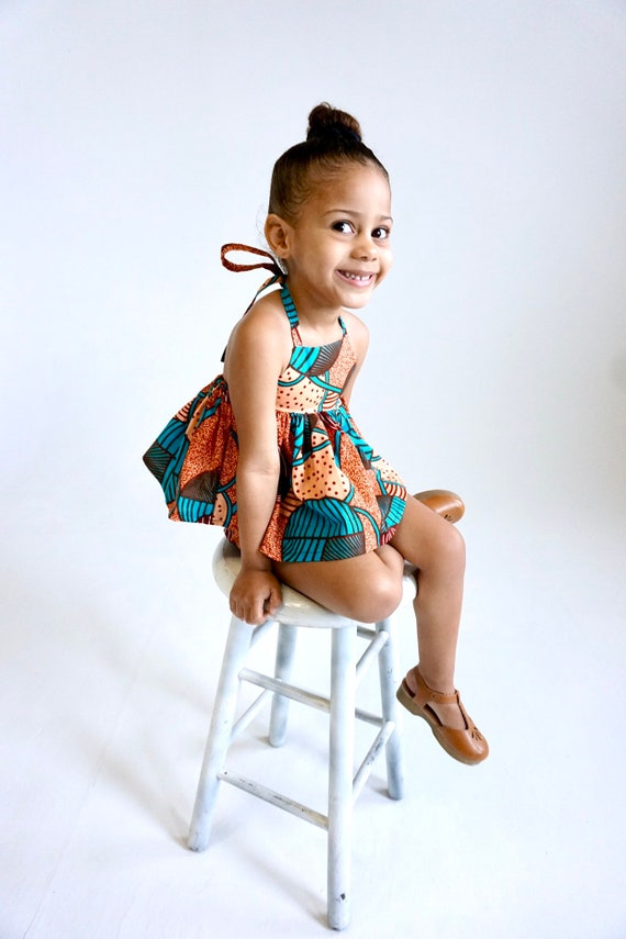 Kids Girls Baby African Ankara Print Ruffle Tank Top Outfit // nb - 9/10 // Light Orange Turquoise